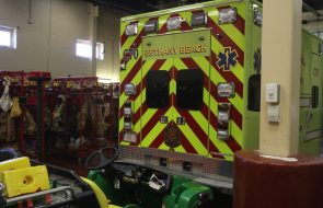 An emergency vehicle in a fire station