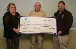 A check of $500 for Sussex County Volunteer DE 50+
