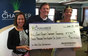 The Chamber gifting a check to Quiet Resorts Charitable Foundation