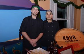 Two Chefs from Knob Creek in black chef garb