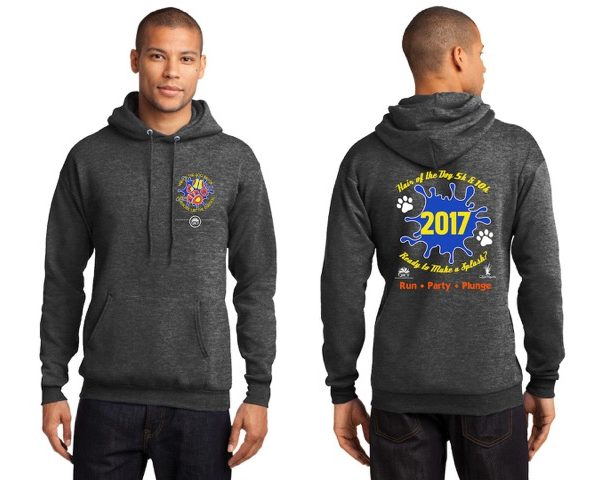 A man wearing a hoodie for Hair of the Dog front and back